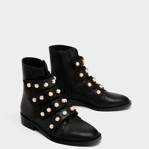 ZARA LEATHER ANKLE BOOTS WITH FAUX PEARL